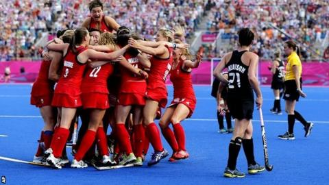 Britain's women celebrate winning bronze against New Zealand