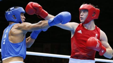 Fred Evans (right) takes on Serik Sapiyev in the Olympic welterweight boxing final at London 2012 but had to settle for silver after losing 9-17 to the man from Kazakhstan