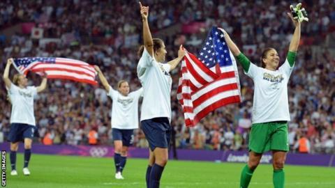 US women's football team celebrate