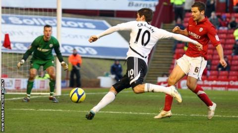 Danny Graham scored two goals for Swansea in their FA Cup win at Barnsley last season