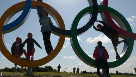 Children playing on Olympic rings at Eton Dorney