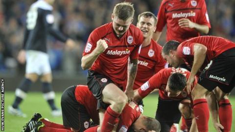 Cardiff players celebrate