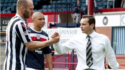 Sam Parkin and manager Danny Lennon celebrate after the 2-0 win over Dundee