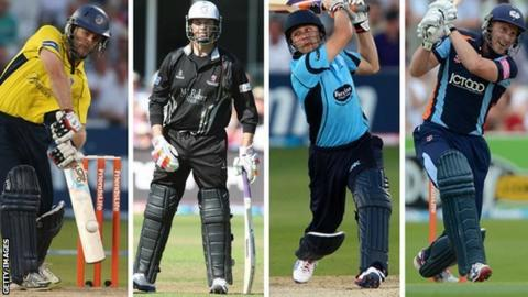 Simon Katich, Marcus Trescothick, Luke Wright and Andrew Gale