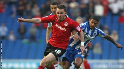 Cardiff's Jordan Mutch in action at Brighton