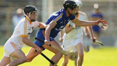 Antrim's Conor Laverty and Shane Golden of Clare