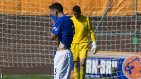 New Rangers signing Anestis Argyriou and goalkeeper Neil Alexander show their disappointment