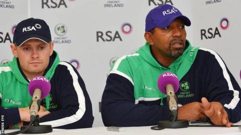 Ireland captain Williajm Porterfiel;d and coach Phil Simmons