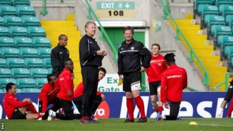 Age Hareide and his Helsingborgs squad train at Celtic Park