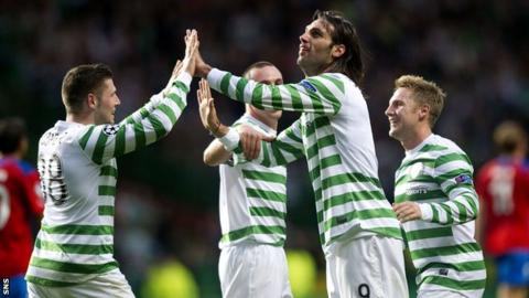 Celtic celebrate their Champions League qualifying win against Helsingborgs