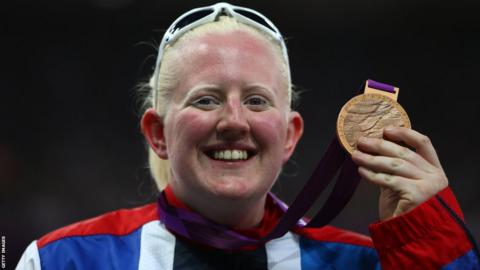 Claire Williams from Carmarthen celebrates her Paralympic bronze medal in the F11/12 discus