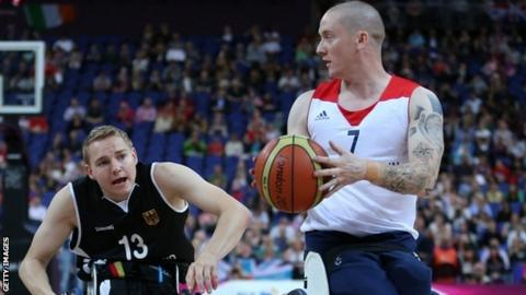 Terry Bywater of Great Britain in action against Germany