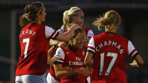 Gemma Davison (centre) is congratulated after scoring