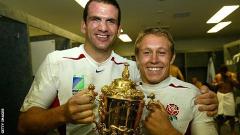 Martin Johnson and Jonny Wilkinson lift the 2003 World Cup