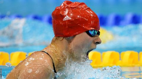 Liz Johnson on her way to Paralympic bronze in the SB6 100m breaststroke