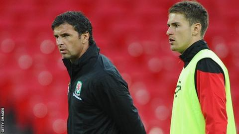 Gary Speed and Aaron Ramsey in September, 2011