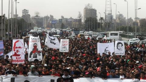 Ahly fans during a demonstration