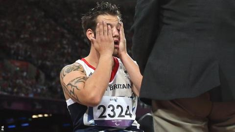 Nathan Stephens shows his frustration after his no-throws during the F57/58 javelin final