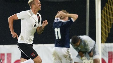Raphael Holzhauser celebrates after scoring the late winner for Austria's Under-21s