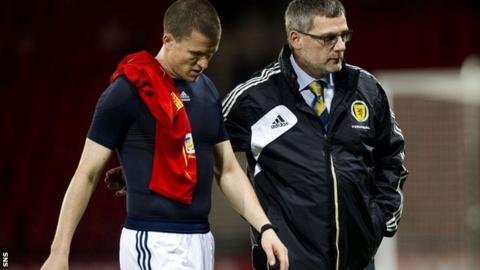 Scotland defender Gary Caldwell and manager Craig Levein