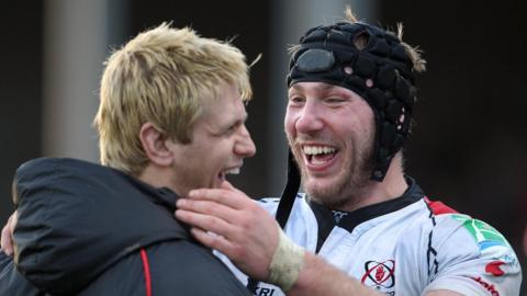 Chris Henry celebrating with Stephen Ferris at the end of a Heineken Cup game against Bath in 2010