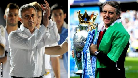 Real Madrid manager Jose Mourinho and Manchester City counterpart Roberto Mancini
