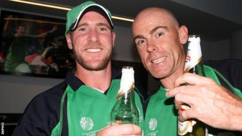 John Mooney (left) and Trent Johnston celebrate after Ireland's World Cup win over England last year