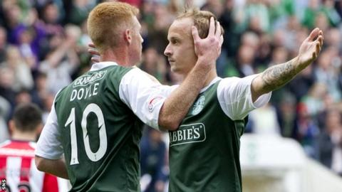 Leigh Griffiths (right) celebrates after scoring a double in the win over Kilmarnock