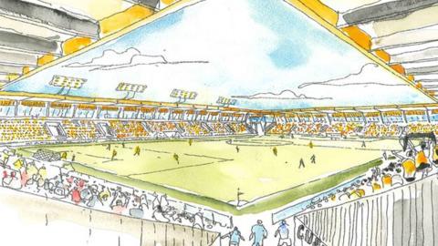 Artist's sketch of proposed new Cambridge United stadium