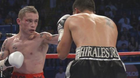 Belfast super-bantamweight Carl Frampton beat Raul Hirales in Nottingham in May 2012