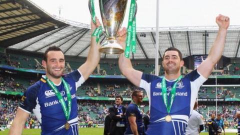 Leinster celebrate winning Heineken Cup
