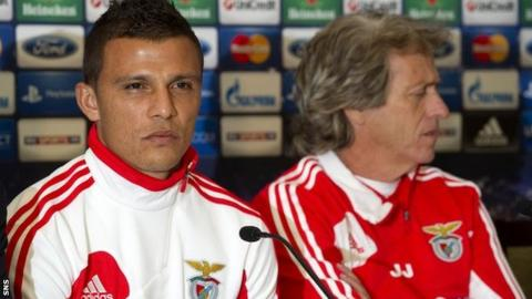 Benfica's Lima and Jorge Jesus talk to the media