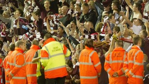 Hearts supporters at Anfield