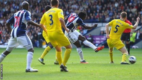 Romelu Lukaku scores for West Brom