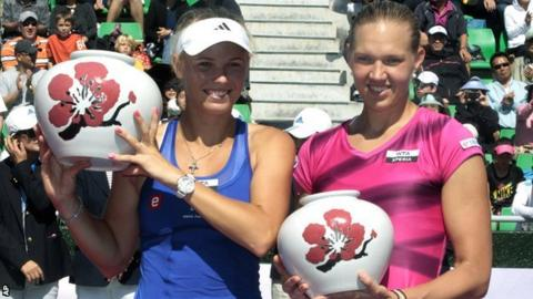 Caroline Wozniacki (left) with beaten opponent Kaia Kanepi