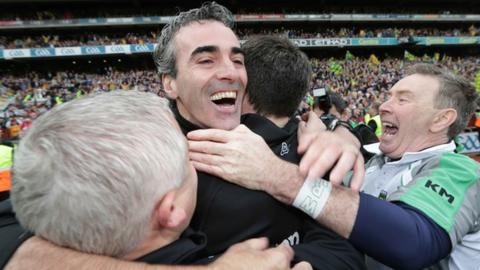 Donegal manager Jim McGuinness celebrates at Croke Park