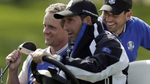 Luke Donald, Jose Maria Olazabal and Sergio Garcia