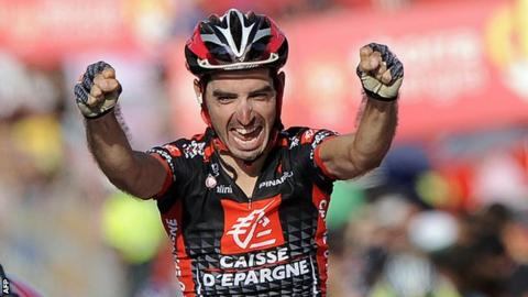 David Lopez celebrates his stage victory at the 2010 Vuelta a Espana