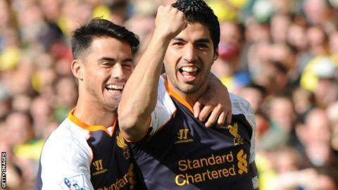 Suso (left) and Luis Suarez