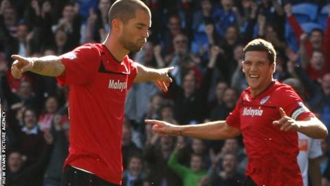 Matthew Connolly (left) celebrates after scoring Cardiff's opening goal