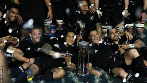 New Zealand celebrate their Rugby Championship win