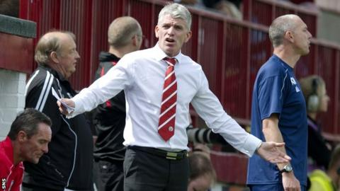 Jim Weir looks frustrated on the Brechin touchline