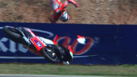 Nicky Hayden crashes into a wall at the Aragon MotoGP