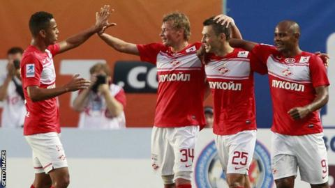 Spartak Moscow's Diniyar Bilyaletdinov (c) celebrates scoring against FC Dynamo Moscow