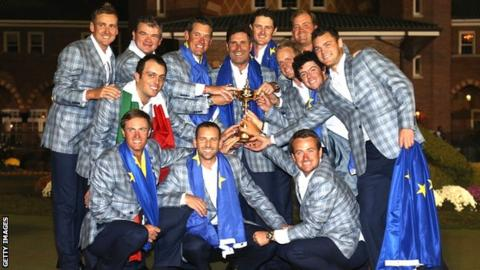 Europe celebrate their 2012 Ryder Cup win