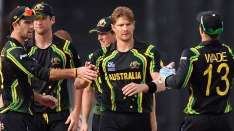 Shane Watson (centre) has been the star of Australia's success so far