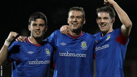Brian McCaul, Peter Thompson and Daryl Fordyce got Linfield's goals against Glentoran