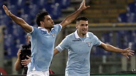 Ederson celebrates for Lazio