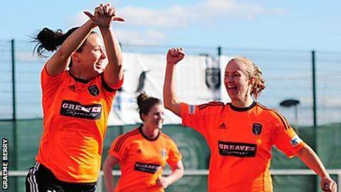 Glasgow City's Rachel Corsie and Eilish McSorley
