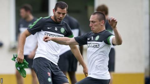 Celtic midfielders Joe Ledley and Scott Brown
